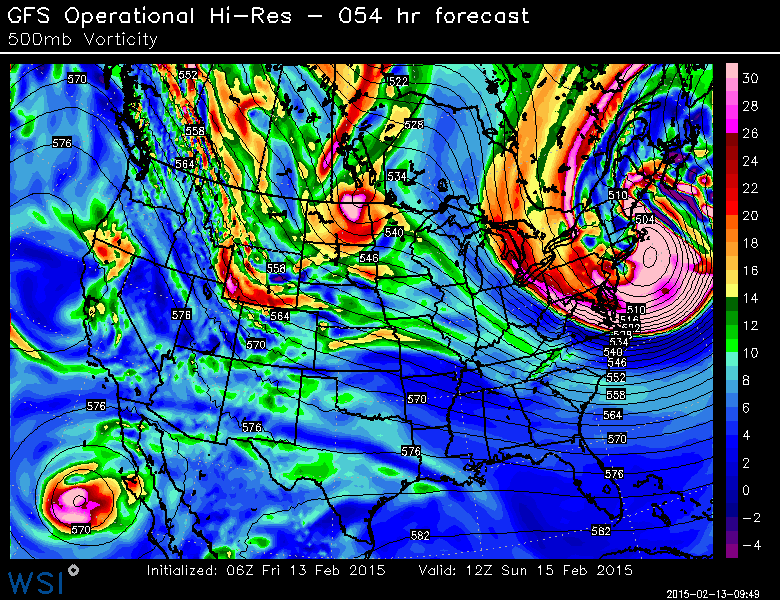 GFS Model showing an tremendous upper level system south of New England on Sunday.