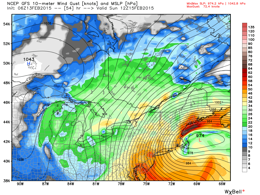 GFS model showing the potential for gusts over 50-60 miles per hour Sunday afternoon.