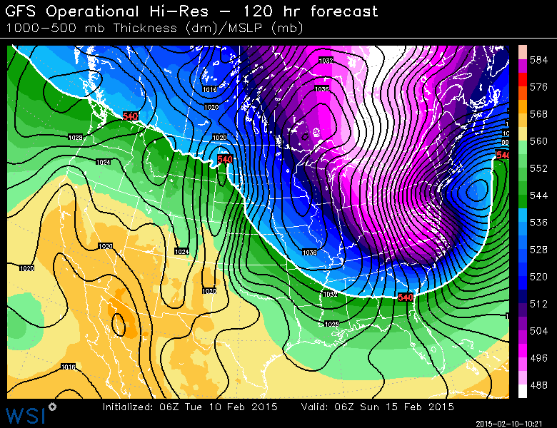 GFS model showing a significant low pressure system off the coast of the Northeast this weekend.