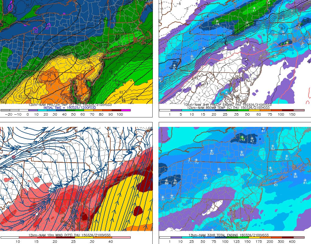 NAM model showing a sharp gradient between temperatures in the 60's and temperatures in the lower 50's on Thursday.