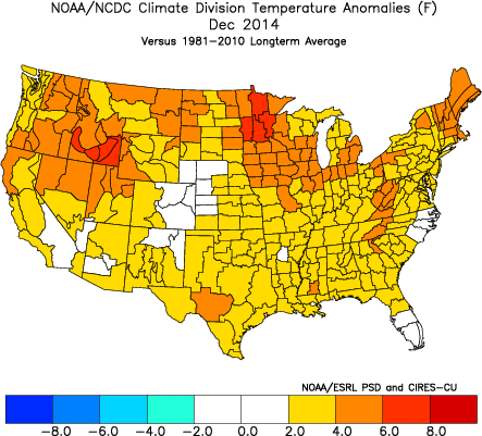 Not only was December, 2014 warm in the Northeast, but it was warm nationally as well. (ESRL)