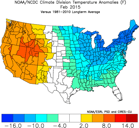 February, 2015 saw historic cold in the Eastern US, but historic warmth in the Western US. The scale at the bottom tells the story very well. (ESRL)