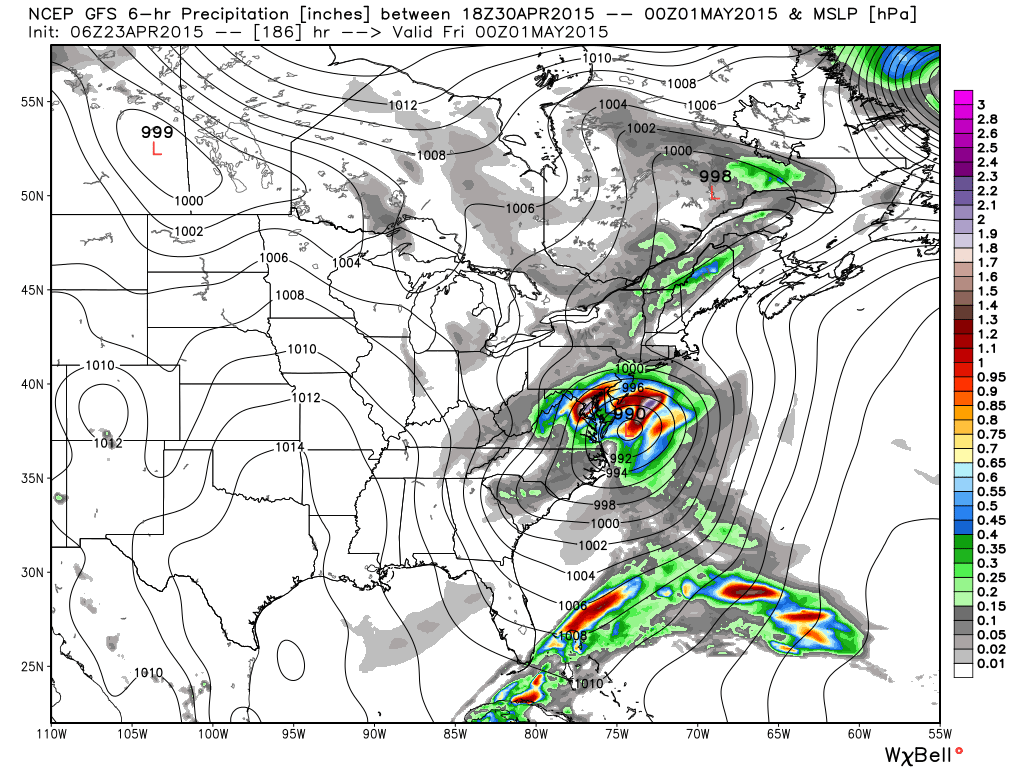 GFS model forecasting a significant coastal storm Days 8-10.