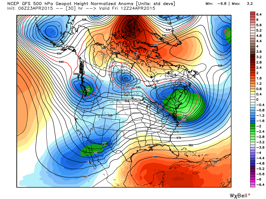 GFS model showing a ridge over Northern Canada, forcing the development of a deep trough in the Eastern US.