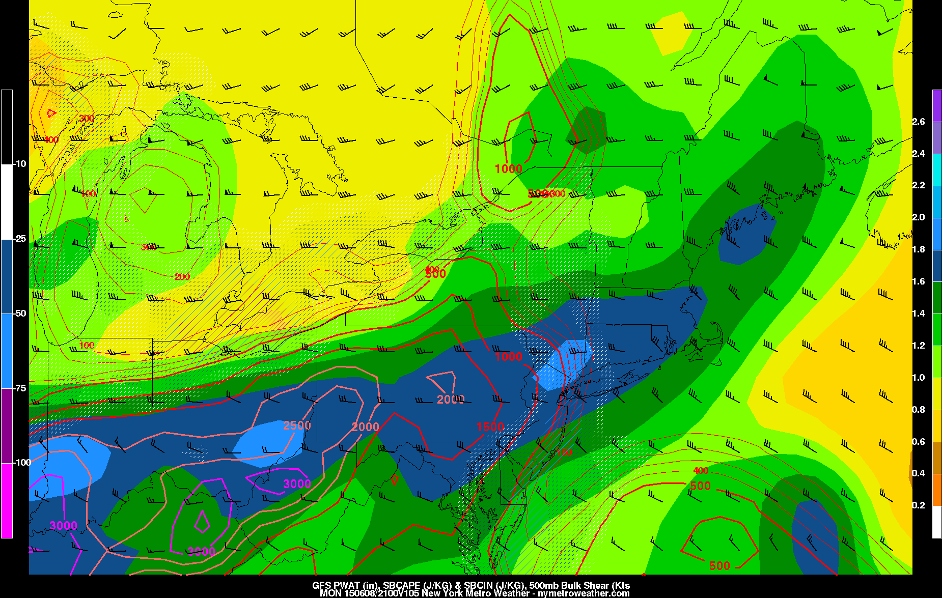 Today's GFS model valid for Monday afternoon shows plenty of moisture, a decent amount of wind shear, and modest instability. This could lead to some strong and isolated severe thunderstorms.