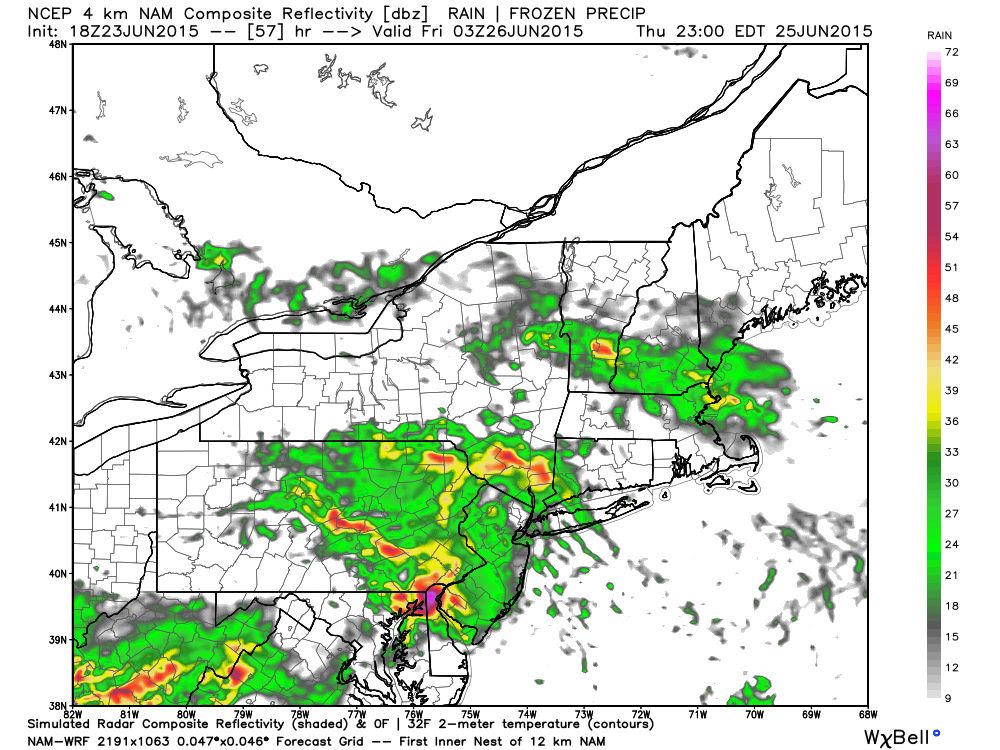 The NAM model suggests unsettled weather with rain and embedded storms on Friday morning.