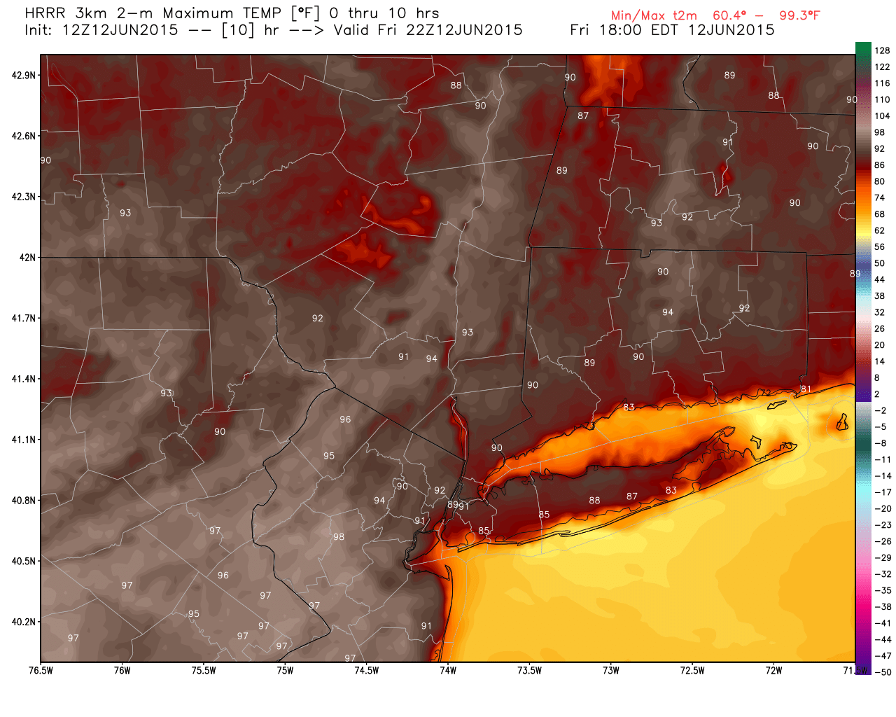 Temperatures this afternoon could approach the mid 90's again in NJ, away from the coast.