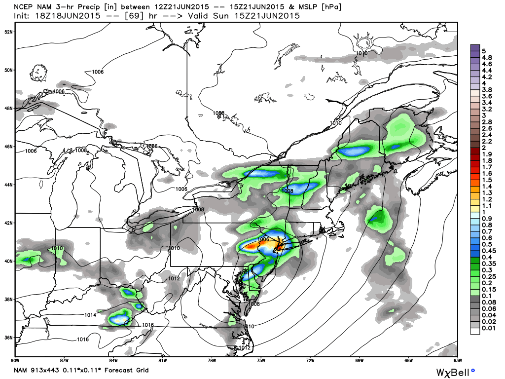 The NAM model shows heavy rain in our area on Sunday afternoon.