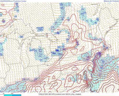 While CAPE (Convective Available Potential Energy) values were very high in most of our area, they were much lower in Northeast PA. There was also convective inhibition (blue shading) there as well, which was the area from which our thunderstorms were supposed to initiate. (SPC Mesoanalysis)