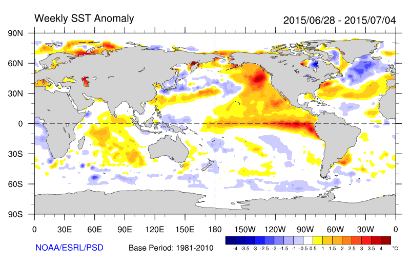 Sea Surface Temperature Anomalies during the past few weeks (ESRL/NOAA).