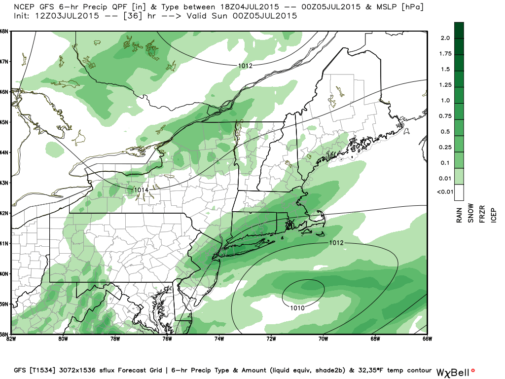 GFS model showing a period of heavy rain Saturday afternoon.
