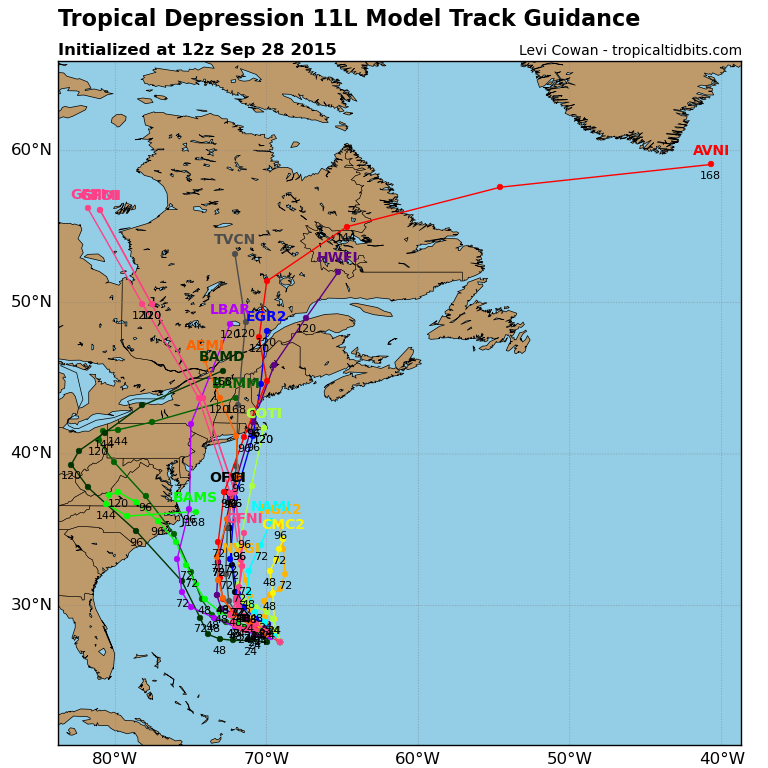 Forecast model tracks for Tropical Depression Eleven.
