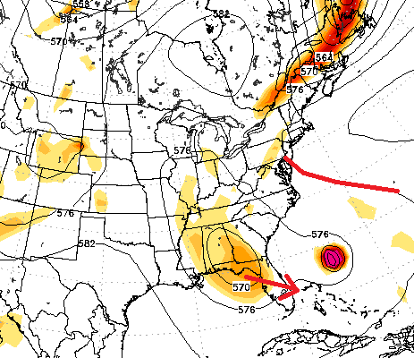 Atmospheric setup for Hurricane Joaquin. Note the blocking ridge (red) that inhibits the storm from moving out to sea.