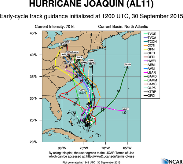 The latest modeled tracks for Joaquin, showing a developing consensus on a Mid Atlantic landfall.