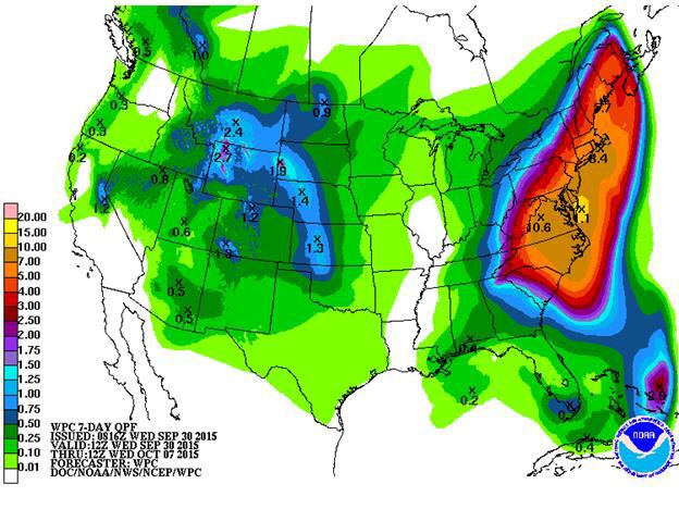 WPC (NOAA) predicting over 8 inches of rain in a large majority of the Northeast US over the next several days.