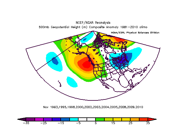 November 500mb pattern preceding the snowier/colder winters since 1990.
