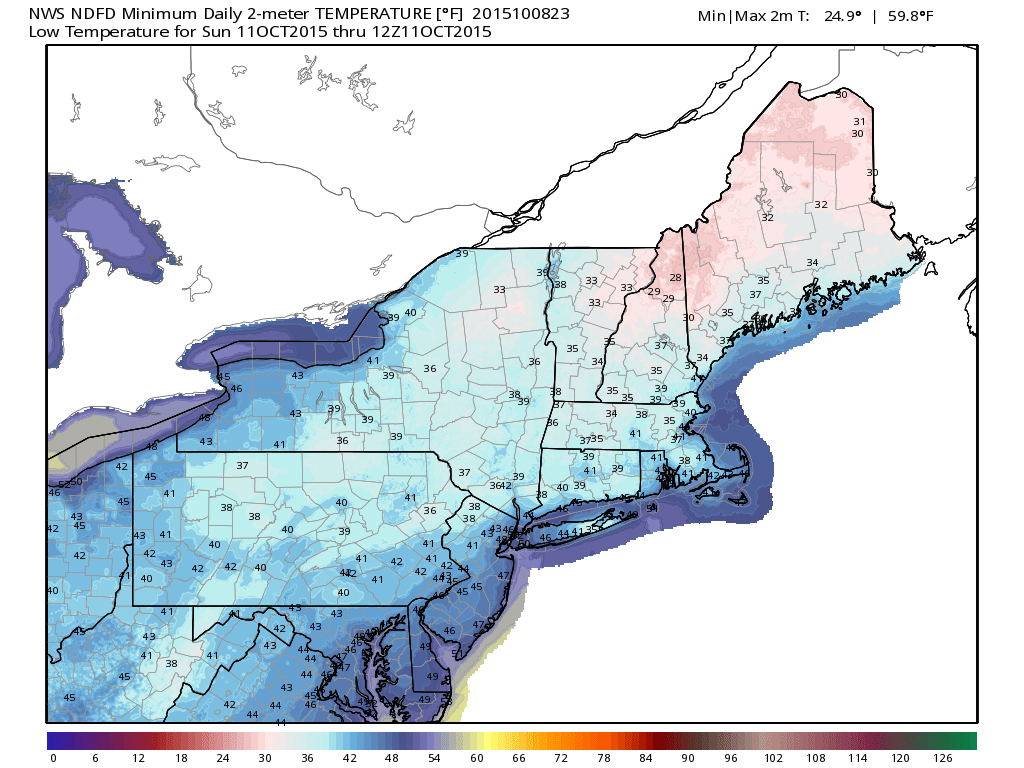 Forecast low temperatures on Sunday Morning -- in the 30's and 40's.