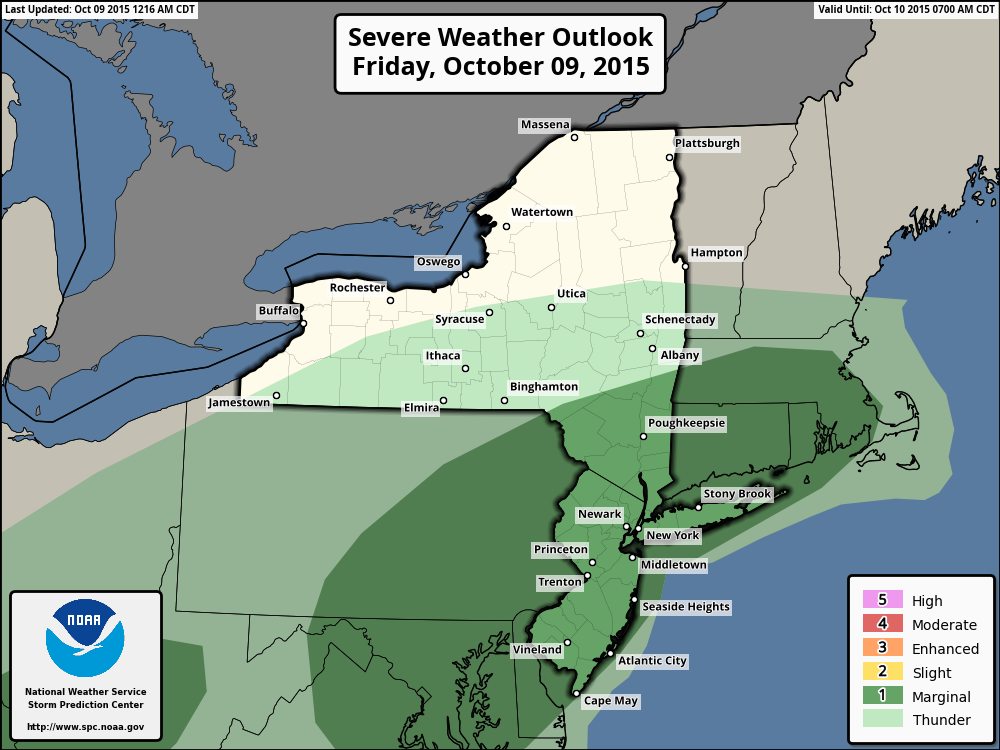 Storm Prediction Center outlook for Friday, October 9th, showing a Marginal Risk of severe thunderstorms.