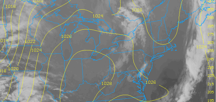 Infrared satellite imagery taken around midnight, April 26, shows very little in the way of clouds, along with high pressure building in from the west.