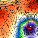 GFS model showing height anomalies at 500mb next week. Notice the anomalous cutoff low over the Southeast States, and the strong blocking to the north of New England. Image courtesy Weatherbell/Ryan Maue.