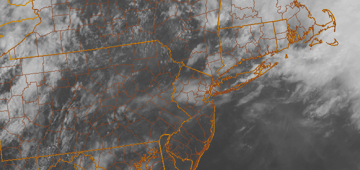 Visible satellite imagery, from the afternoon of May 29 2013, showing clearing skies in the area behind a warm front. Storms are expected to develop across the area this evening.