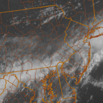 Visible satellite imagery from the morning of May 16, 2013 showing clouds moving southeast through the area.