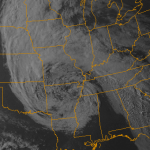 Visible satellite imagery from the evening of May 4th, 2013 showing a low pressure system in association with a cutoff low aloft over the Central US. This will weaken and drift towards our area next week.