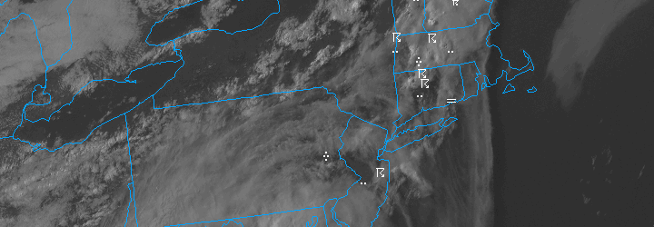 Visible satellite imagery from June 2nd, 2013 showing scattered showers and thunderstorms with hazardous weather conditions overlayed on the visible satellite image.