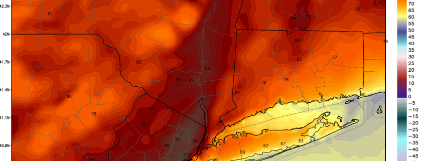 Today's high-resolution NAM model valid for tomorrow afternoon shows some areas in NE NJ reaching 90 degrees. (Weatherbell.com)
