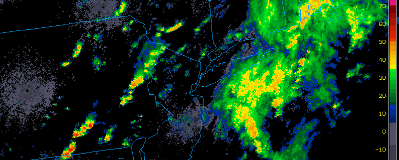 Radar imagery as of 1:15PM EDT shows a cluster of thunderstorms developing in Eastern PA. (weather.cod.edu)