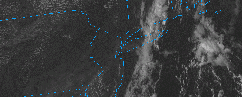 Satellite imagery at 4:30pm EDT shows a streak of clouds and showers in Suffolk County, with clearing elsewhere. (weather.cod.edu)