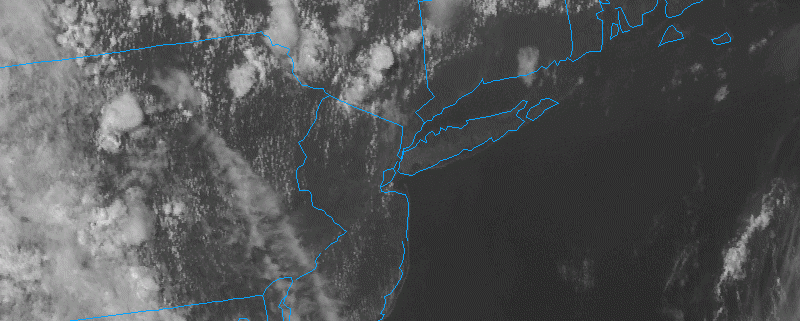 Satellite imagery as of 3:00pm EDT shows hazy conditions, with pop-up showers and thunderstorms to our north (weather.cod.edu).