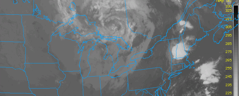 This morning's infrared satellite imagery shows a large circulation in Ontario. This is the low pressure system and associated cold front, which will be moving through later today. (weather.cod.edu)