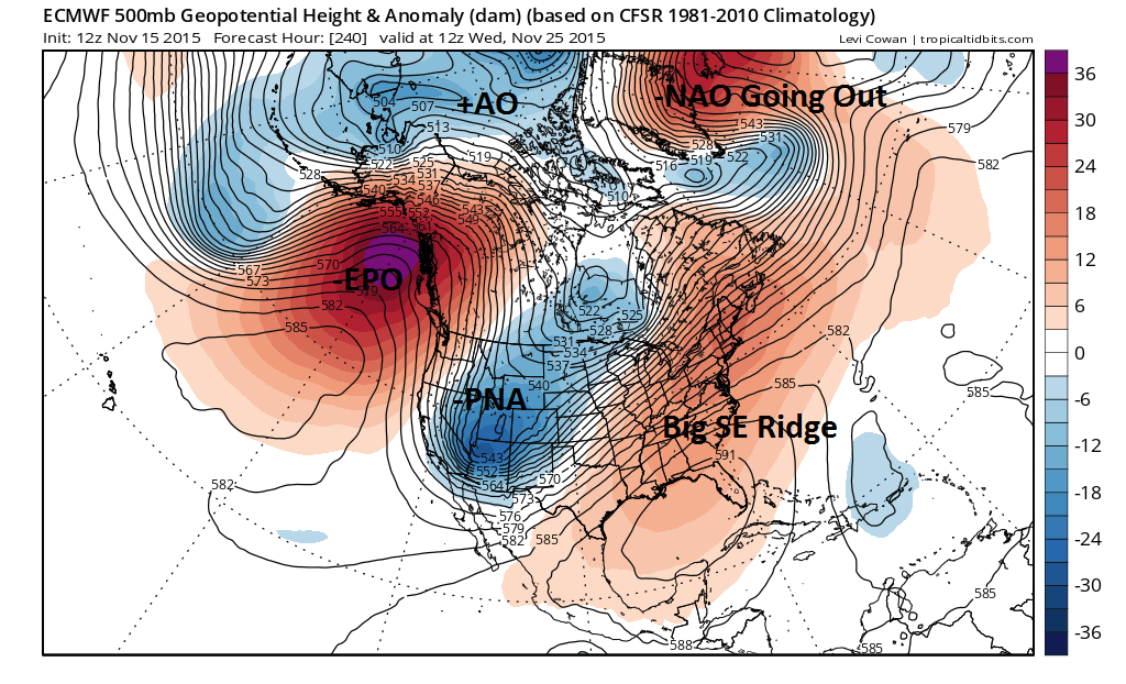 The ECMWF model out 240hr the day before Thanksgiving