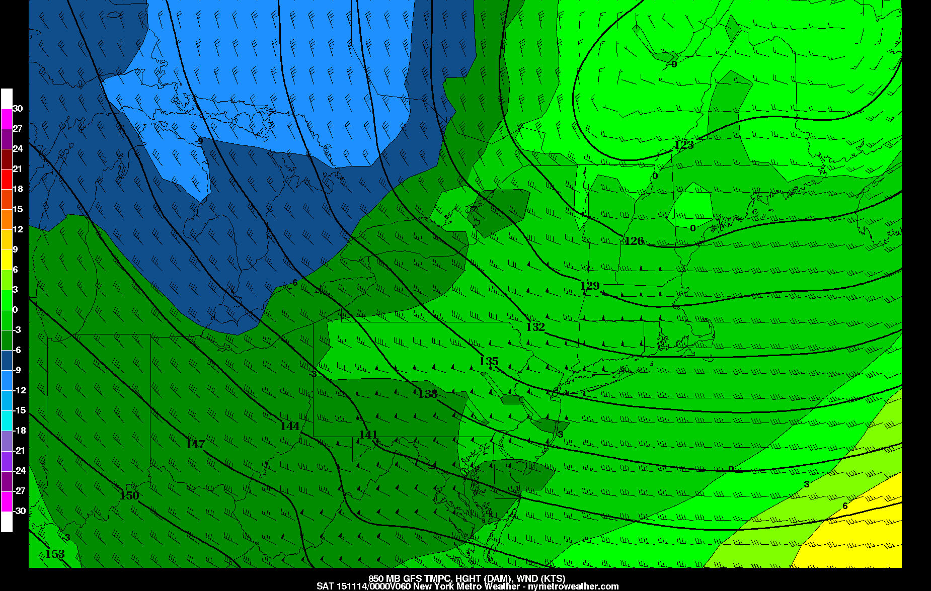 Today's GFS valid for Friday at 7:00pm shows 850mb winds over 50 knots. It also shows a polar airmass moving in from the west, which will make Friday night and Saturday feel quite chilly.