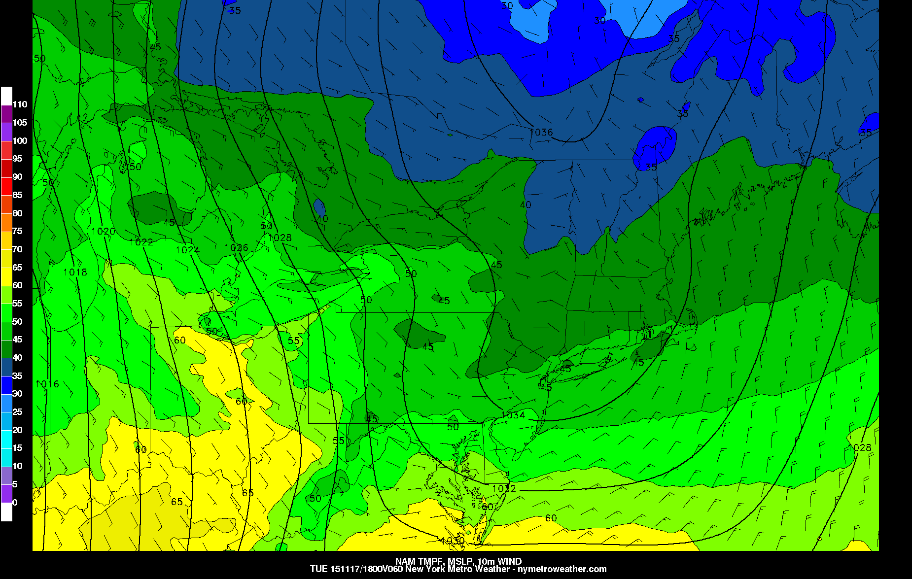 Today's 6z NAM valid for Tuesday afternoon shows temperatures only in the upper 40s.