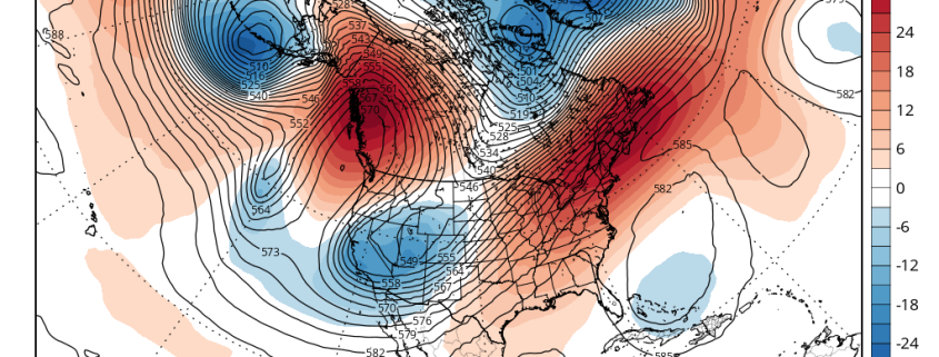 The ECMWF model showing at 500mb level the Western US trough and strong ridge over Eastern US