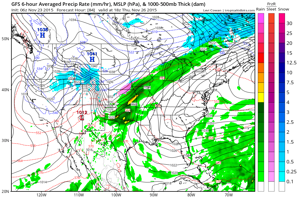 GFS model showing fair weather on Thanksgiving, with a frontal boundary well to our west.