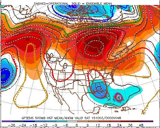 The GEFS at 500mb level (18kft) showing blocking ridge over the Northwest Atlantic, Upper-level low over Southeast US and Joaquin embbeed trough and weaknees in between.