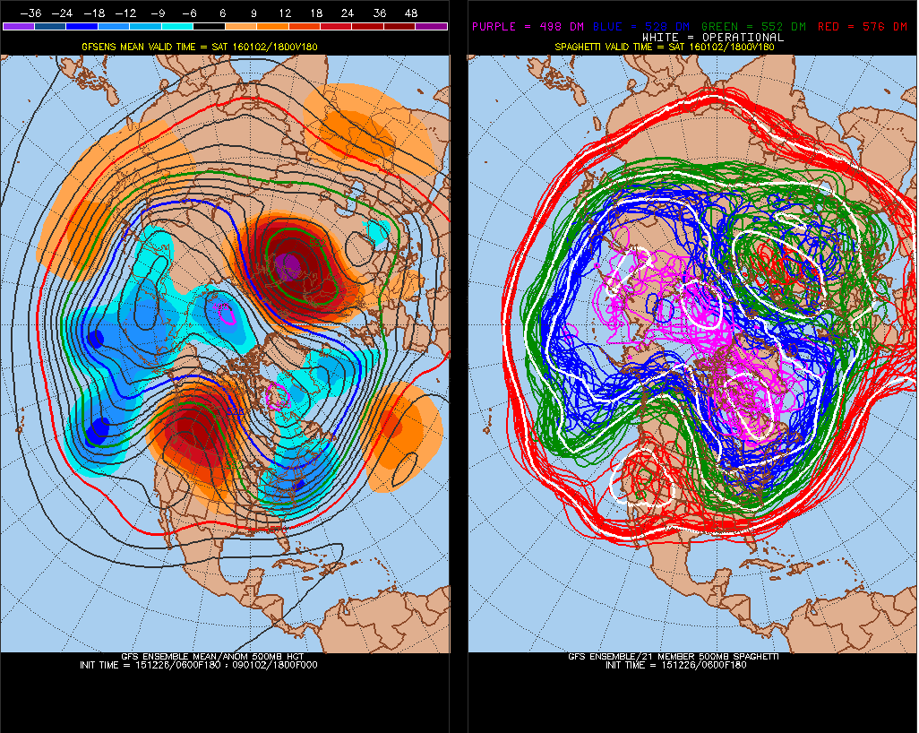 The GEFS showing very strong, anomolous ridge over Barents/Kara Sea and a large ridge over Western Canada and deep trough over Eastern US for Jan 2nd.