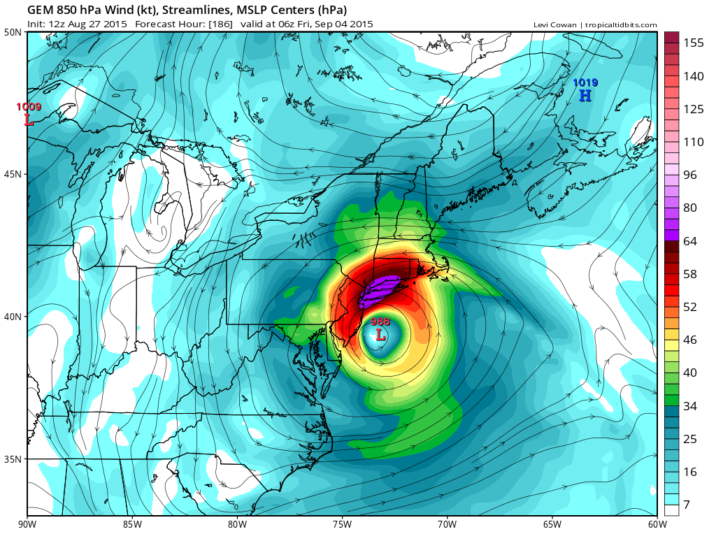 The GGEM showing Erika off the Southern NJ coast with 74kt+ at 850mb level.