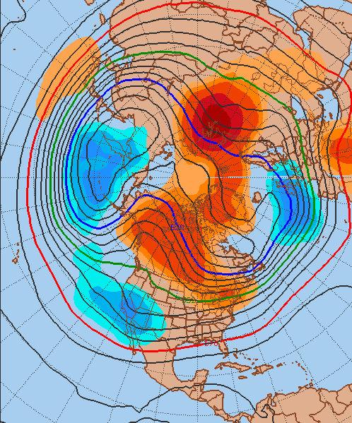 GFS Ensembles forecasting a trough near the Aleutian Islands and ridging on the West Coast of North America.