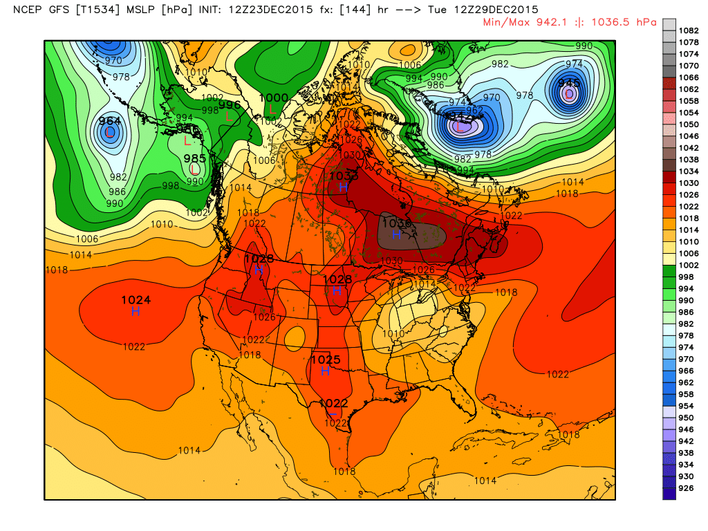 GFS model showing an expansive high pressure developing over Southeast Canada and the Northeast next week.