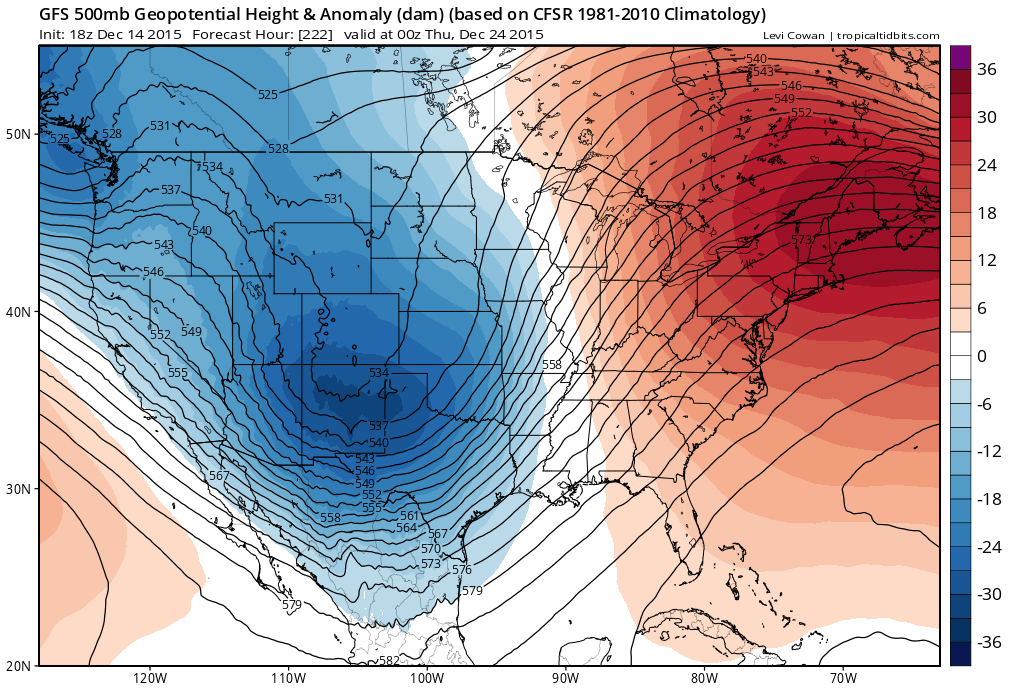 GFS model showing a large trough in the Western US, building a large ridge in the Eastern US around Christmas.