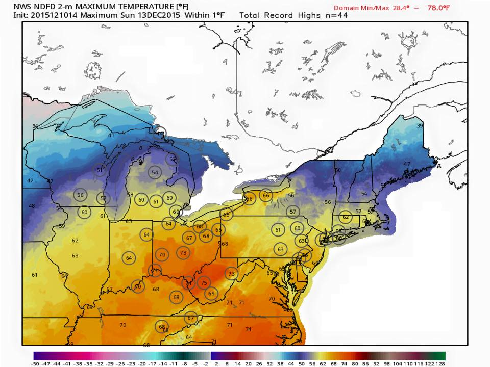 The NWS is forecasting record high temperatures at 44 recording stations on Sunday.