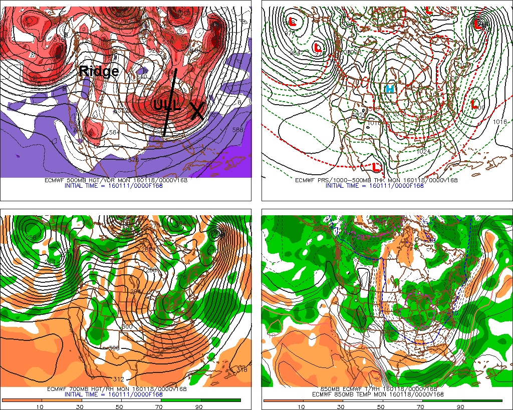 The ECMWF model showing another low developing off well offshore on Sunday Jan 17th