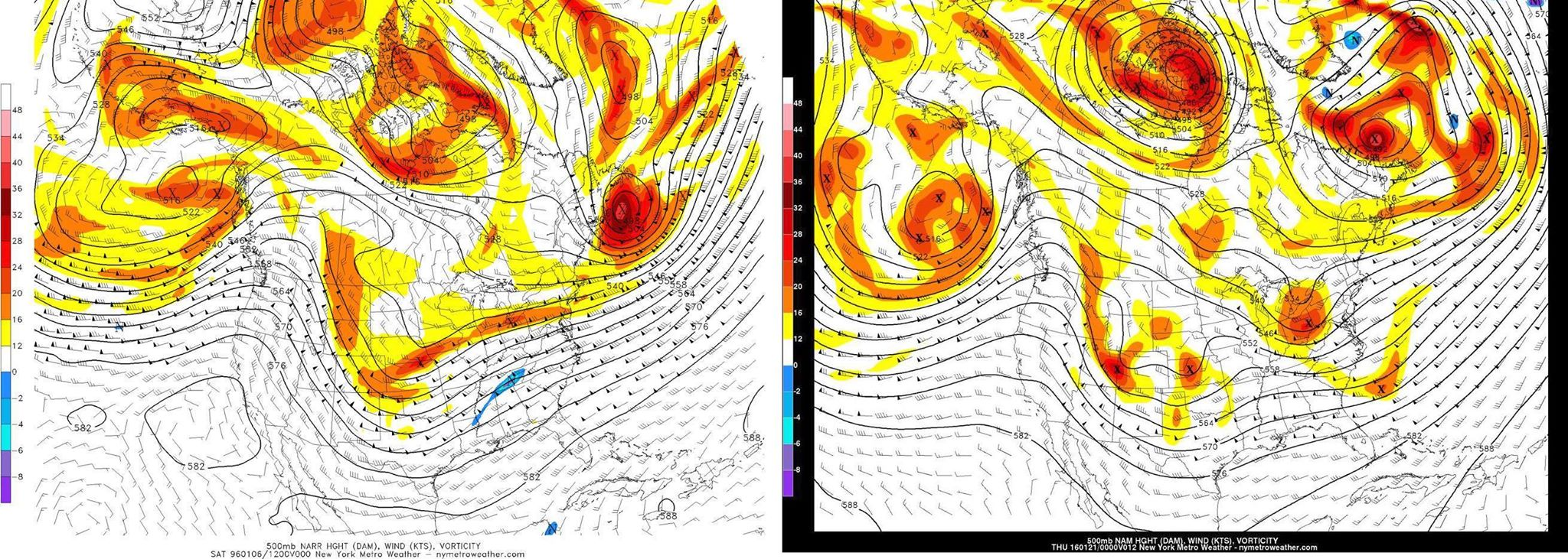 The mid level atmospheric pattern prior to the Blizzard of 1996 (left) and 2016 (right).