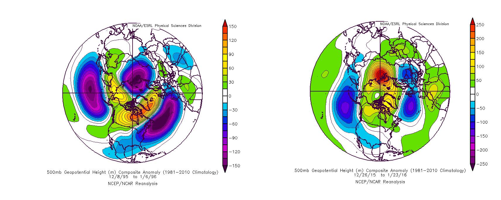 The 500mb pattern prior to the Blizzard of 1996 and the Blizzard of 2016.