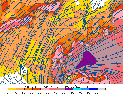 GFS model showing very strong winds along the New Jersey and New York coasts on Saturday.