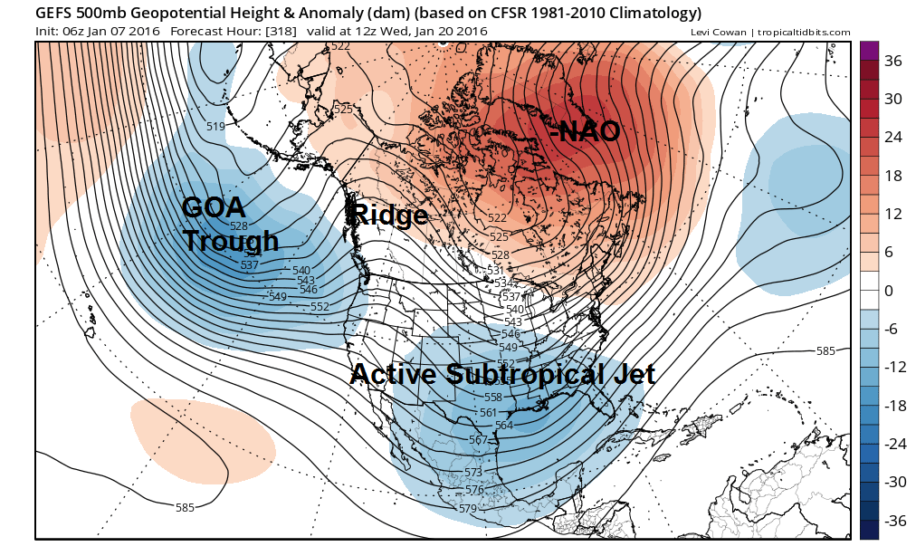 The GEFS showing a split flow with a ridge over Alaska/Western Canada and active subtropical jet and polar jet running across This could support another winter storm threat further down the road.